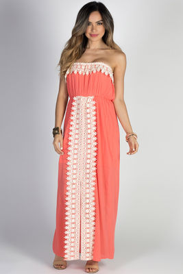 """Daydreamer"" Coral Strapless Maxi Dress with Crochet Lace Trim image"
