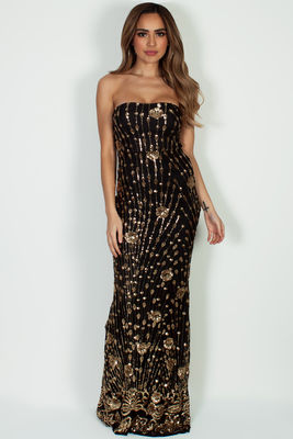 """Vivacious Vibes"" Black & Gold Sequined Maxi Gown image"