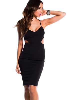 """""""Venus"""" Black Cut Out Bodycon Backless Party Dress image"""