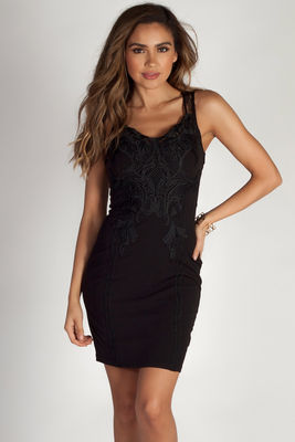 """Always Forever"" Black Baroque Lace Detailed Midi Dress image"