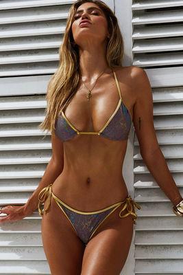Laguna Mauve Snake & Gold Classic Bikini Top image
