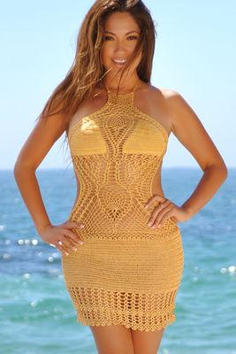 Buttercup Gold Backless High Neck Halter Dress Crochet Cover Up image