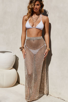 Sea Breeze Metallic Gold Crochet Fishnet Beach Skirt image