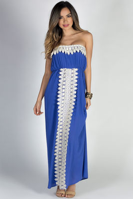 """""""Daydreamer"""" Blue Strapless Maxi Dress with Crochet Lace Trim image"""
