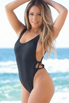 Los Angeles Black High Cut One Piece Scrunch Bun® Swimsuit image