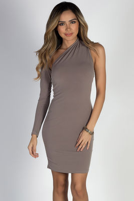 """""""Cruise Queen"""" Taupe One Shoulder Dress image"""