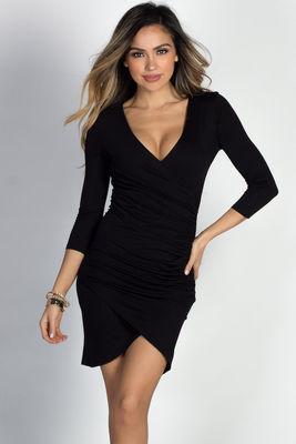 """Gemma"" Black 3/4 Sleeve Ruched Jersey Wrap Dress image"