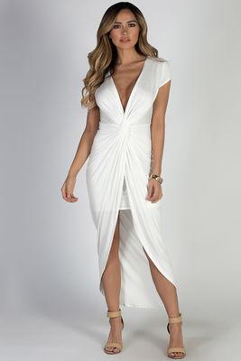 """Paris Bound"" White Jersey Maxi Dress image"