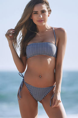 Black & White Gingham Bandeau Tube Top  image
