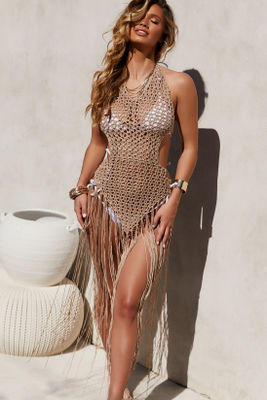 Tri-Coastal Beige Fringe Maxi Dress Cover Up image