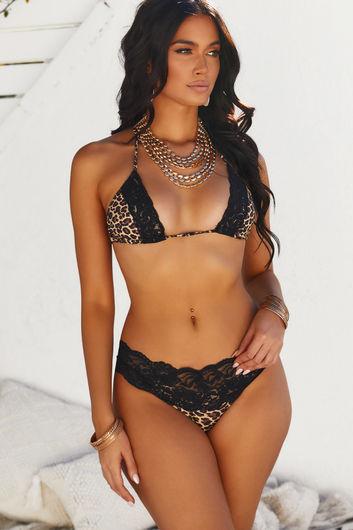 Leopard & Black Edge Lace Triangle Top