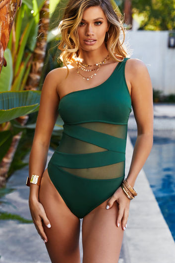 Foxglove Olive Sheer One Shoulder One Piece