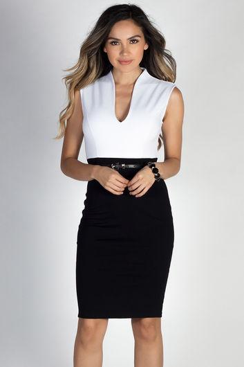 """Champion"" White & Black Sleeveless Color Block Midi Dress"