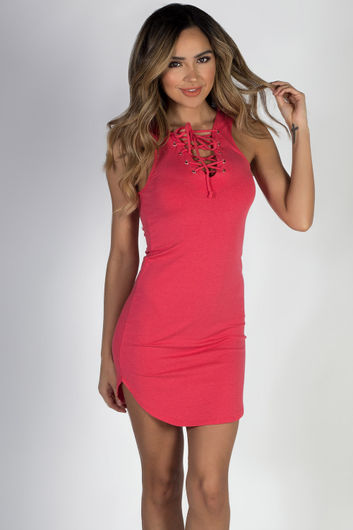 """""""One Heart"""" Pink Lace Up Dress"""