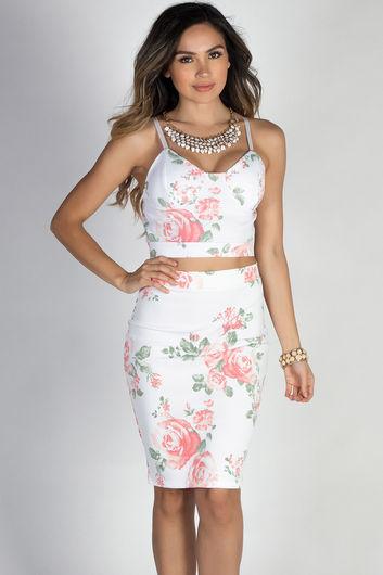 """Paradise City"" White Floral Print Two Piece Midi Dress"