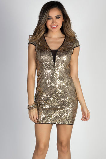 """24K Magic"" Gold Sequin Cap Sleeve Deep V Cocktail Dress"