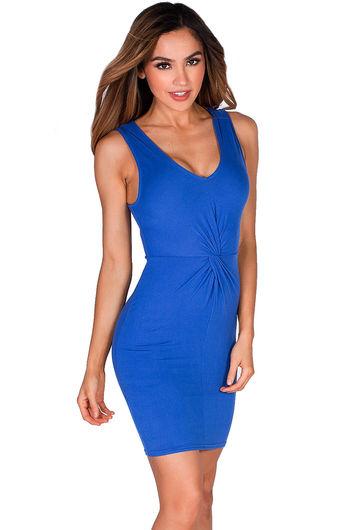 """Mandi""  Royal Blue Twist Front V Neck Sleeveless Short Jersey Tank Dress"