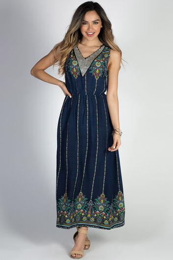 """Break Free"" Navy Floral Rhinstone Collar Glam Boho Maxi Dress"