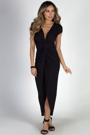 """Paris Bound"" Black Jersey Maxi Dress"