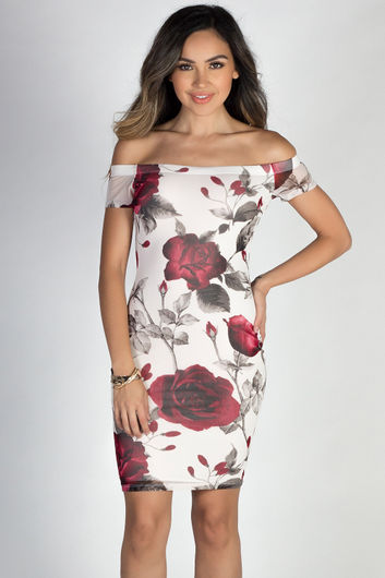 """""""Roses Are Red"""" White Rose Floral Print Off Shoulder Bodycon Midi Dress"""