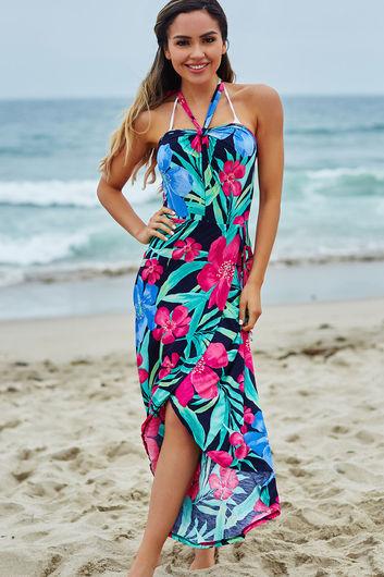 Rheingold Navy Tropical Print Wrap Style Maxi Beach Dress
