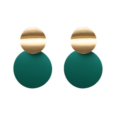Green Dangle Drop Earrings