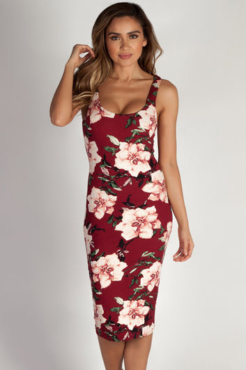 """Me Or Us"" Burgundy Floral Scoop Neck Midi Dress"
