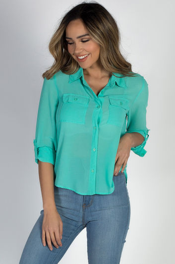 """Celena"" Mint Long Sleeve Chiffon Blouse with Front Pockets"