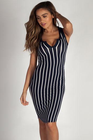 """One Kiss"" Navy Striped Racer Back Dress"