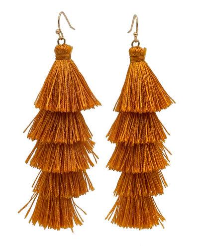 Amber Gold Fringe Tassel Earrings