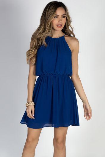 "By Your Side"" Royal Blue Short Chiffon Dress"
