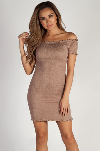 """""""Don't Mention Me"""" Taupe Off Shoulder Ruffled Dress"""