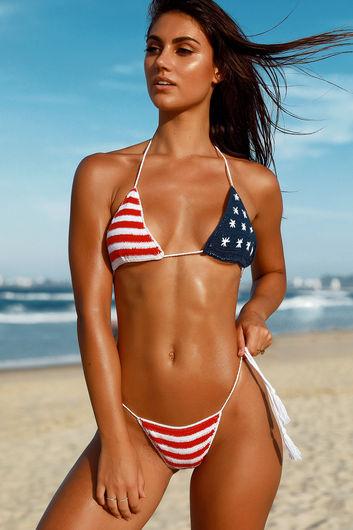 Red White & Blue Bikini Top