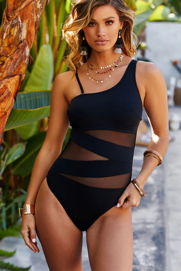 Foxglove Black Sheer One Shoulder One Piece