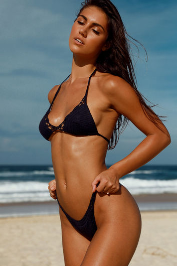 Hyacinth Black Bikini Top