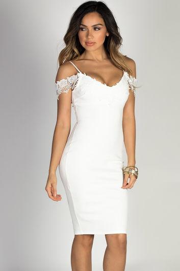 """Timeless"" White Lace Trim Off Shoulder Bodycon Ponte Midi Dress"