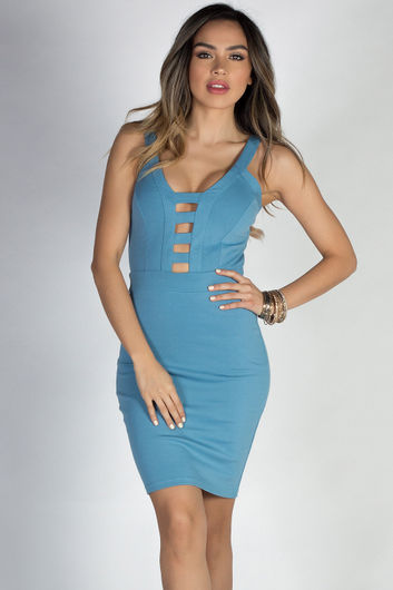 """""""Beautiful Girl"""" Blue Sexy Plunging Cut Out Bodycon Cocktail Dress"""