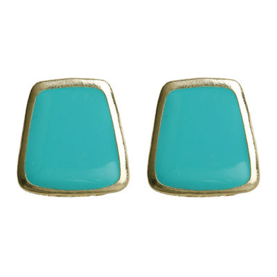 Teal Trapezoid Earrings