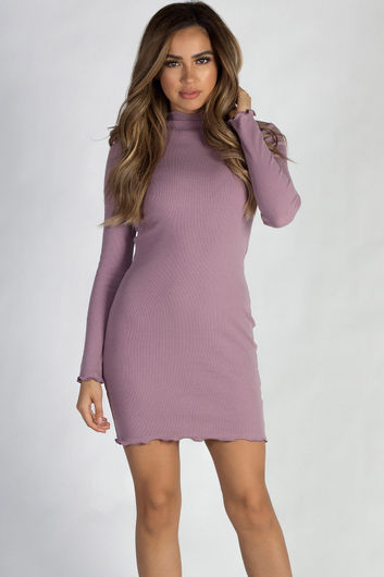 """""""Where Haven't We Been"""" Dusty Lilac Ribbed Long Sleeve Merrow Hem Dress"""