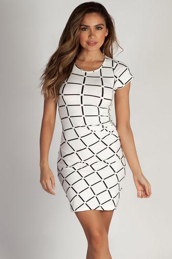 """Social Club"" White Grid Short Sleeve Bodycon Dress"