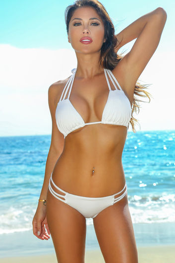 Solid White Triple Strap Triangle Bikini Top