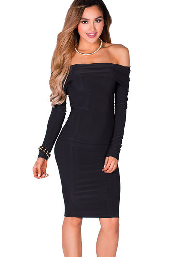 """Sabine"" Black Long Sleeve Off Shoulder Bodycon Midi Dress"