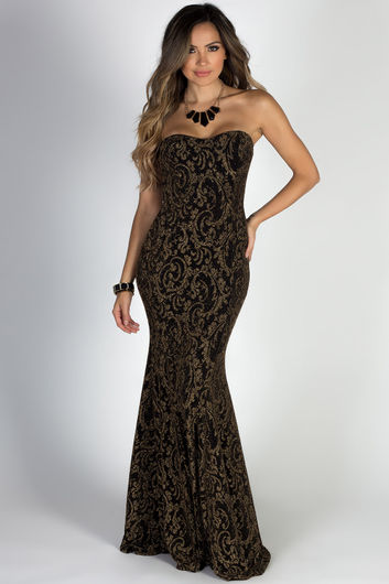 """A Star is Born"" Sparkly Gold Print Strapless Maxi Gown"