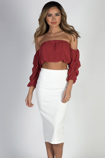 """Ingenuity"" White Pencil Midi Skirt"
