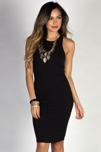 """Body Talk"" Black Jersey Bodycon Tank Midi Dress"