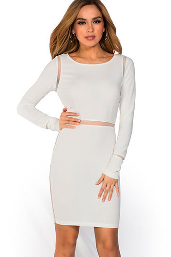 """""""Pearl"""" Ivory White Long Sleeve Open Back Mesh Cut Out Dress"""