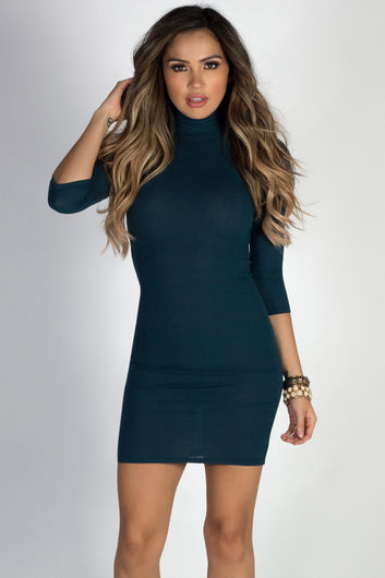 """Simple Pleasures"" Peacock Teal 3/4 Sleeve Jersey Bodycon Classic Turtleneck Midi Dress"