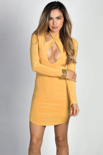 """Angela"" Mustard Long Sleeve Twist Strap Bodycon Dress"