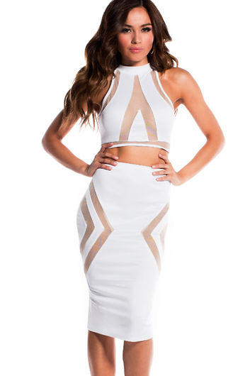 """""""Tori"""" Pure White Illusion Mesh Cut Out Halter Crop Top Two Piece Dress"""