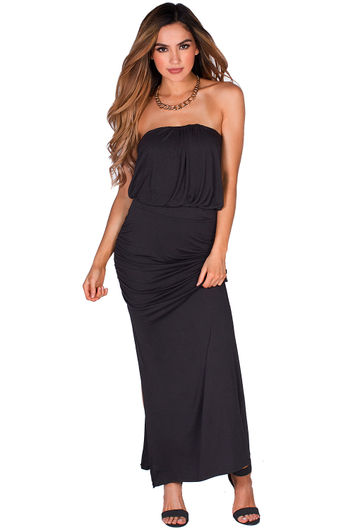 """Venitra"" Black Draped Casual Strapless Tube Top Maxi Dress"